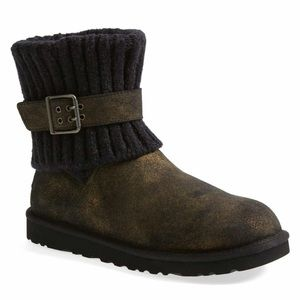 Ugg Cambridge Metallic Gold/Black Suede/Knit Boots